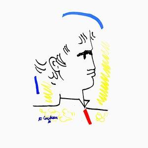 Jean Cocteau - Colorful Portrait - Original 1965 Lithographie