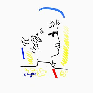 Jean Cocteau - Colorful Portrait - Original Lithograph 1965