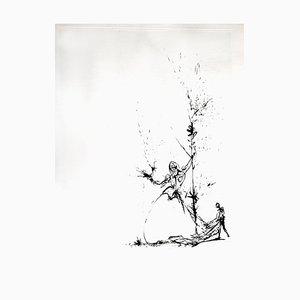 Salvador Dali - Woman and Page - Original Radierung auf Seide 1968