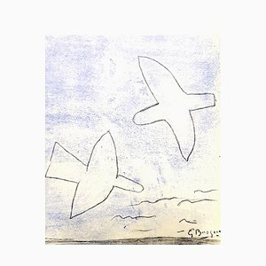 after Georges Braque - Birds - Pochoir 1958