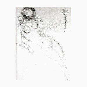 Salvador Dali - Akt mit Blume - Original Radierung auf Seide 1968