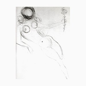 Salvador Dali - Nude with Flower - Original Etching on Silk 1968