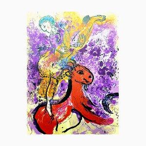 Litografia originale 1957 di Marc Chagall - The Red Rider