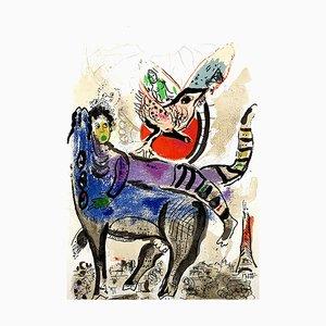 Litografia originale 1967 di Marc Chagall - La Vache Bleue (mucca blu)