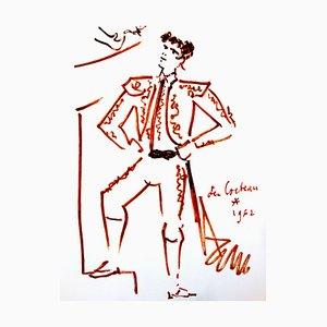 Litografia originale 1965 di Jean Cocteau - Strength