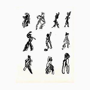 Litografía original Henri Michaux - People 1952