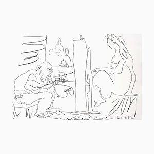 Litografia originale 1962 di Pablo Picasso - The Painter and His Model