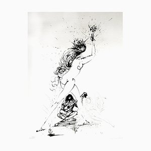 Salvador Dali - Girl With Torch - Original Etching on Silk 1968