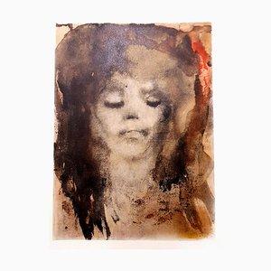 Litografia originale del 1964 di Leonor Fini - Ragazza dai capelli rossi