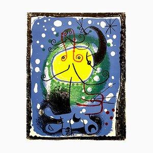 Joan Miró - Blue Figure - Litografía original en colorido de 1957