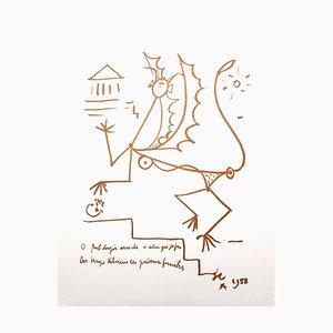 Jean Cocteau - Surrealist Creature - Original Lithograph 1958