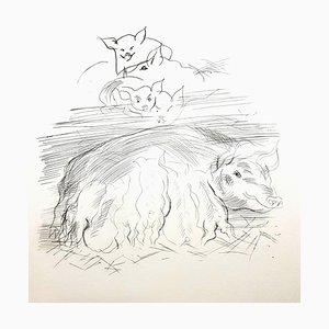 Raoul Dufy - Farm Pigs - Original Radierung 1940