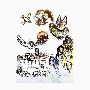 Litografía Nocturne à Vence original de '' Chagall Lithographe II '' 1963