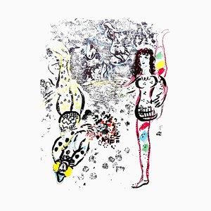 Lithographie originale du Jeu des Acrobates de '' Chagall Lithographe II '' 1963