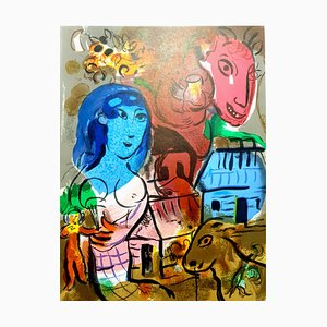 Litografia originale di Marc Chagall - Omaggio a Marc Chagall