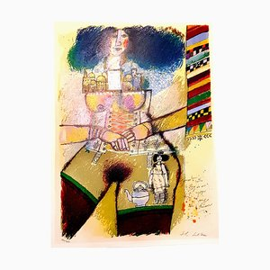 Théo Tobiasse - Jerusalem Inside - Original Lithograph with Collage 1982