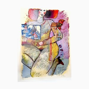 Théo Tobiasse - Abraham Sacrifice - Litografia originale con collage, 1982