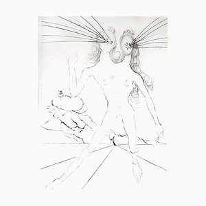 Salvador Dali - Bicephale - Original Radierung auf Seide 1968