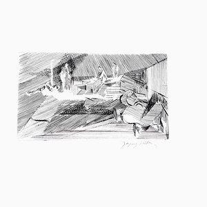 Gravure à l'Eau-Forte Gravure originale, Jacques Villon - Cubist Landscape, 1950s