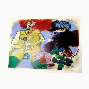 Théo Tobiasse - A Man Talking About Mornings - Original Lithographie 1982