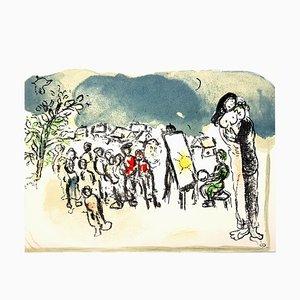 Litografia originale 1968 di Marc Chagall - Hommage à Julien Cain