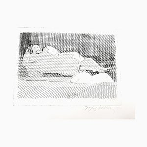 Gravure à l'Eau-Forte originale Jacques Villon - Sleeping Nude Circa 1950