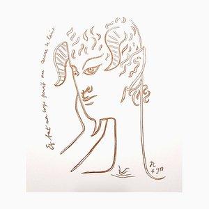 Lithographie Jean Cocteau - Reflections - Lithographie Originale, 1958