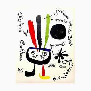 Lithographie Joan Miro - Bird - Original Colorful Lithograph 1952