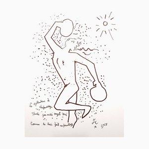 Jean Cocteau - The Boxer - Litografia originale, 1958
