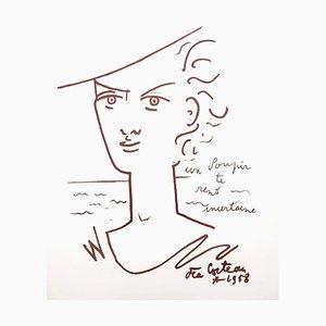Jean Cocteau - Woman Portrait - Litografia originale, 1958