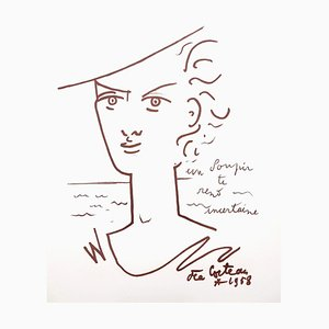 Jean Cocteau - Woman Portrait - Original Lithograph 1958