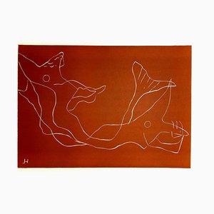 Henri Laurens - Ocean - Couleur Linoleum Cut Original 1938