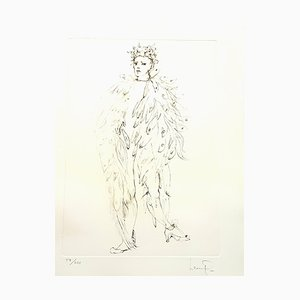 Litografía Leonor Fini - Angel original de Handsigned