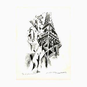 Lithographie signée Robert Delaunay - La Femme et la Tour - Circa 1960