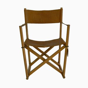 Model MK16 Leather Folding Chair by Mogens Koch for Interna