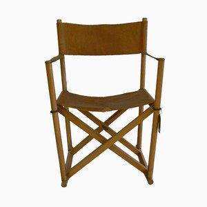 Sedia modello MK16 pieghevole in pelle di Mogens Koch per Interna
