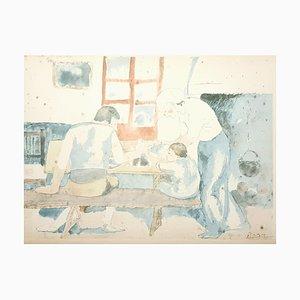 Litografia Pablo Picasso (after) - Family At Supper - Litografia, 1946
