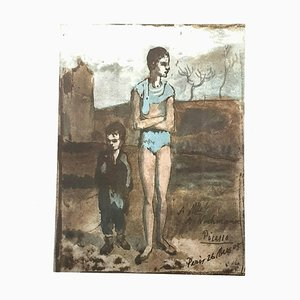 Pablo Picasso (nachher) - Harlekin und Junge - Lithographie von 1946
