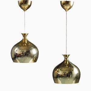 Lampade a sospensione in ottone di Helge Zimdal per Falkenberg, set di 2
