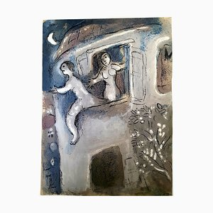 Litografia Marc Chagall - The Bible - David saved by Michal - Original Lithograph 1960