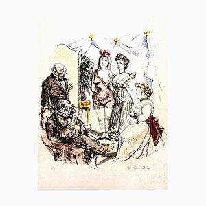 Leonard Foujita - House of Delights - Signierte Originale Lithografie Circa 1960