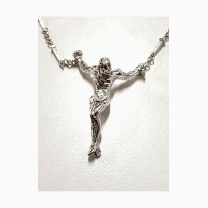 Salvador Dali - Christ - Signed Silver Necklace 1970