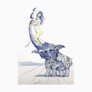Salvador Dali - Girl on Rhinoceros Horn - Original Radierung 1967