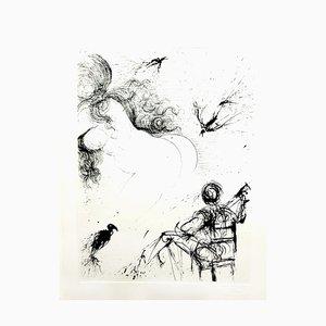 Acquaforte Originaria del 1967, Salvador Dali - Nude with Parrots