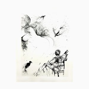 Salvador Dali - Desnudo con loros - Grabado Original 1967