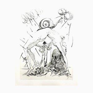 Salvador Dali - Akt mit Schnecke - Original Radierung 1967