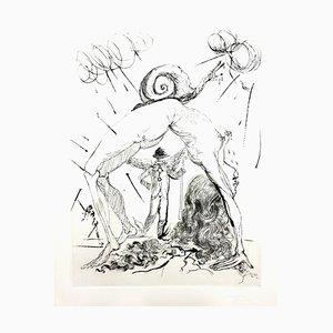 Salvador Dali - Nude with Snail - Original Etching 1967
