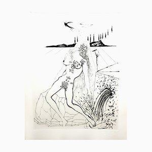 Acquaforte originale del 1967, Salvador Dali - Nude at the Fountain