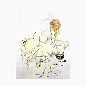 Salvador Dali - Mädchen und Schwein - Original Radierung 1967