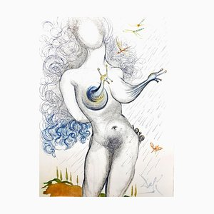 Salvador Dali - Nude with Snails Breat - Original Etching 1967